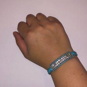 Jewelry: Blue Braided Bracelet with Rhinestones